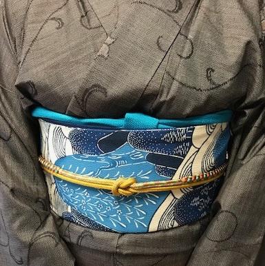 青森からのお客様・伊織紬+五味桂子さん遠山文様紅型帯_f0181251_1357839.jpg
