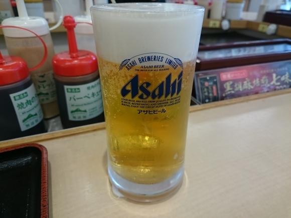 3/24夜勤明け 厚切りポークステーキライス大盛り無料¥690 & 生ビール2杯¥360 @松屋_b0042308_16201266.jpg