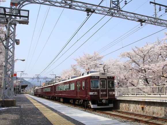 阪急上桂駅 ソメイヨシノ 阪急6351F_d0202264_511828.jpg