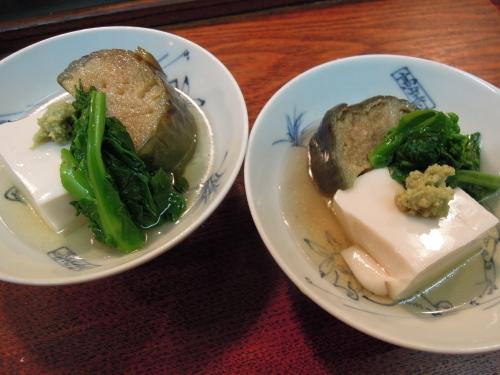 胡麻豆腐 なす煮 菜の花 わさび_e0116211_12055478.jpg