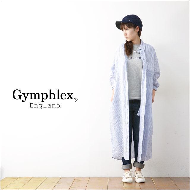 Gymphlex [ジムフレックス] LINEN STRIPE&CHECK L/S LONG SHIRTS [J-1280LNP] ロングシャツ/シャツワンピース LADY\'S_f0051306_13435469.jpg
