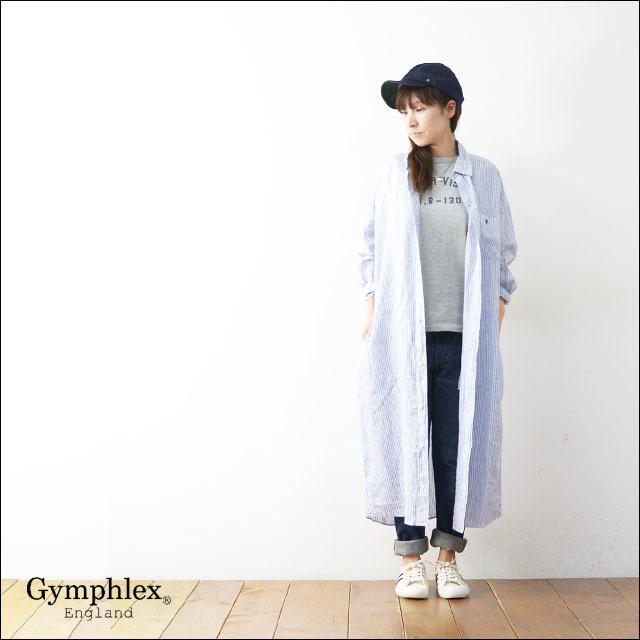 Gymphlex [ジムフレックス] LINEN STRIPE&CHECK L/S LONG SHIRTS [J-1280LNP] ロングシャツ/シャツワンピース LADY\'S_f0051306_13440045.jpg