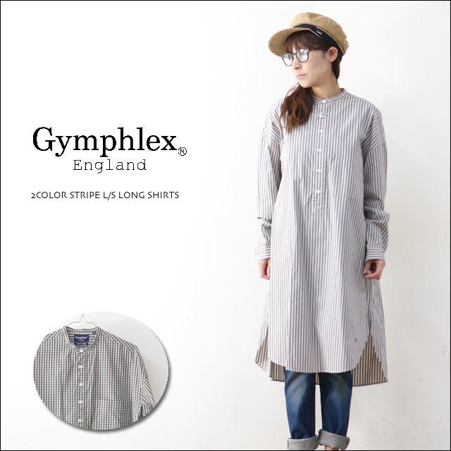 Gymphlex [ジムフレックス] 2COLOR STRIPE & CHECK L/S LONG SHIRTS [J-1257NTS] ストライプロングシャツ/シャツワンピース LADY\'S_f0051306_15042144.jpg