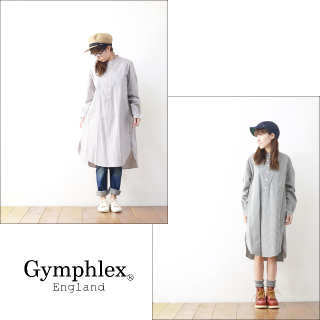 Gymphlex [ジムフレックス] 2COLOR STRIPE & CHECK L/S LONG SHIRTS [J-1257NTS] ストライプロングシャツ/シャツワンピース LADY\'S_f0051306_15042764.jpg