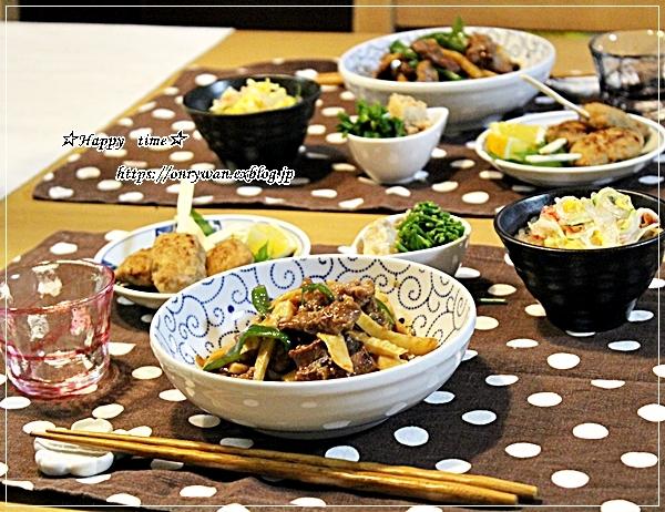 肉団子の甘酢餡弁当とタケノコたっぷり青椒肉絲♪_f0348032_18280632.jpg