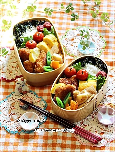ソースチキンカツ弁当と庭からビオラとイチゴ酵母でラウンドパン♪_f0348032_18342017.jpg