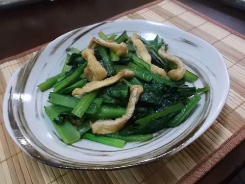 さつまいもの粒マスタード入りサラダ&小松菜と油揚げの炒め_f0019498_20254986.jpg