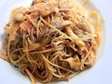 4/19本日パスタ:豚肉とキノコのトマトソース・スパゲティ_a0116684_11441453.jpg