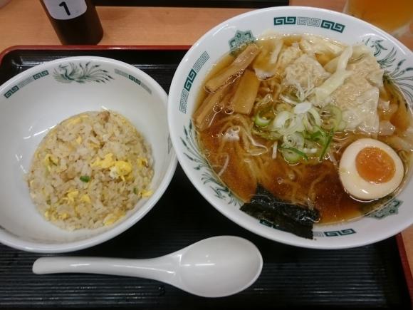 4/18 ワンタン麵 + 半チャーハンセット¥800 & 生ビール¥330_b0042308_10065625.jpg