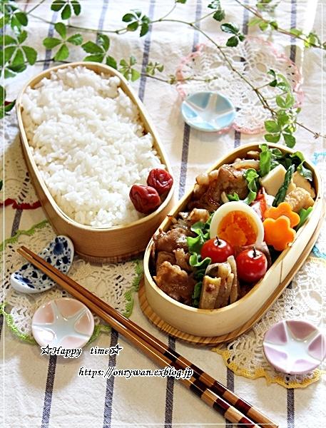生姜焼き弁当と庭から、つぼみ♪_f0348032_18234580.jpg