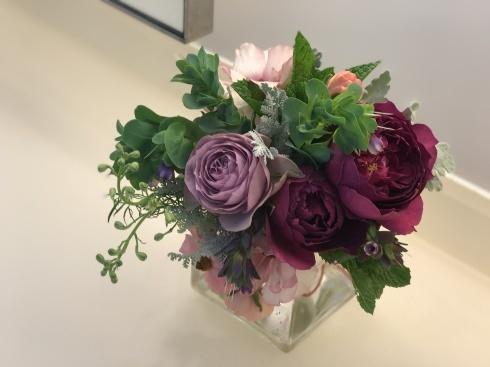 今日のレクサス宮崎装花----庭のお花やハーブも一緒に束ねました_b0137969_06030848.jpg