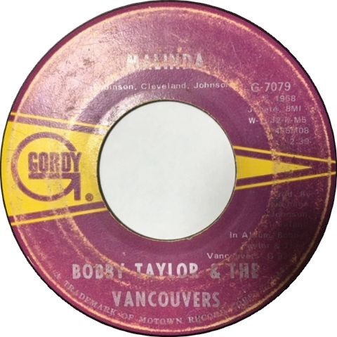 Bobby Taylor & The Vancouvers ‎– Malinda / It's Growing : まわるよ ...