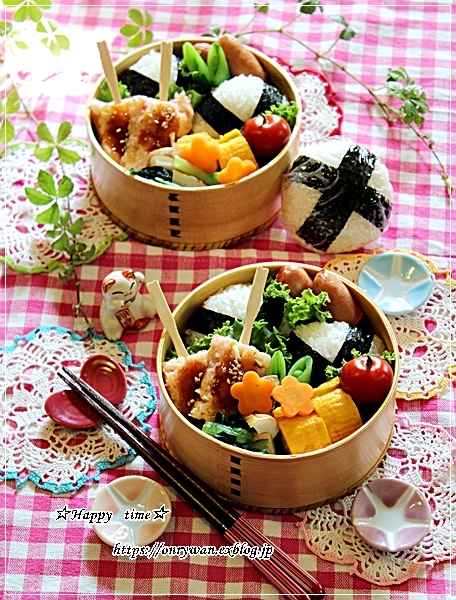 おむすび弁当とすずらんとわんこ♪_f0348032_18203559.jpg