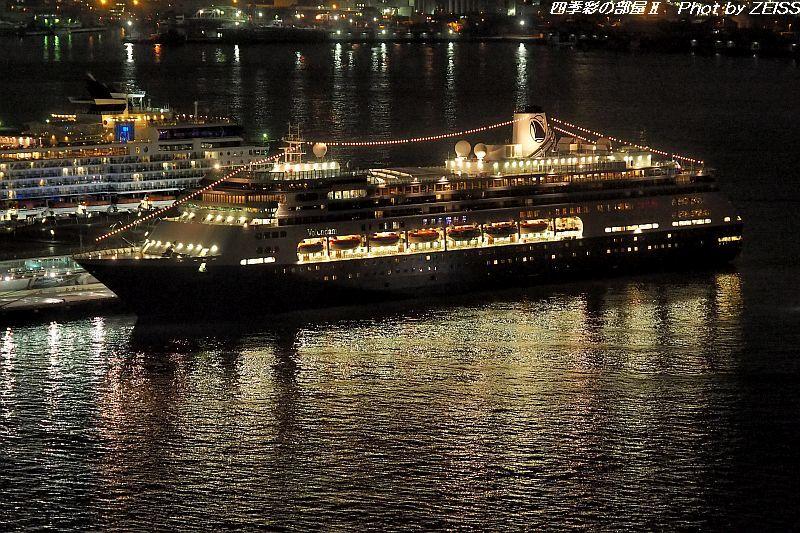 客船フォーレンダムが夜の横浜港大さん橋より出航_d0358854_08442185.jpg