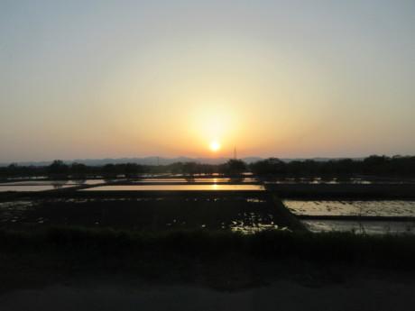 夕日、夕月、くーちゃんまんま_a0203003_19362784.jpg