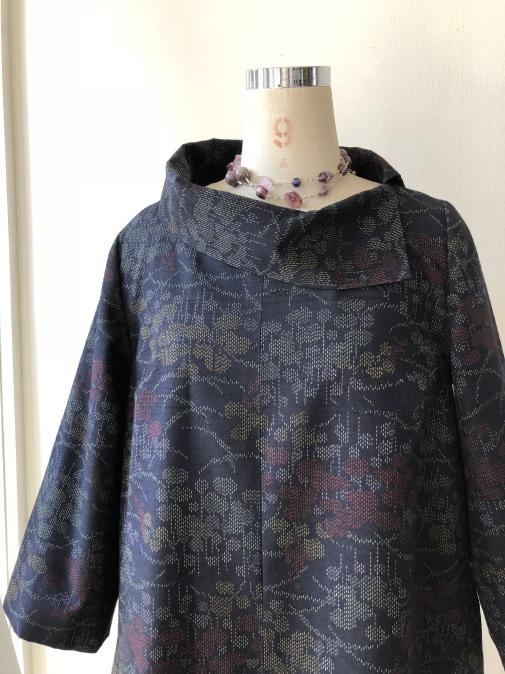 着物リメイク・紬の着物から変わり襟のワンピ_d0127925_14311442.jpg