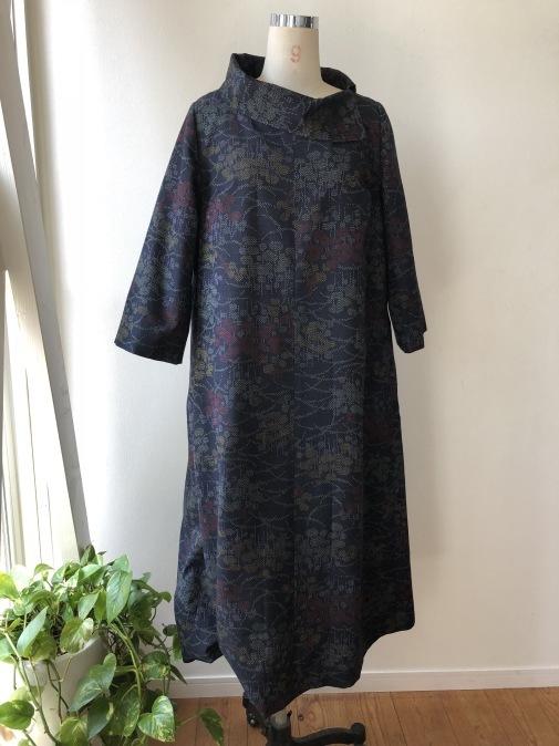 着物リメイク・紬の着物から変わり襟のワンピ_d0127925_14312761.jpg