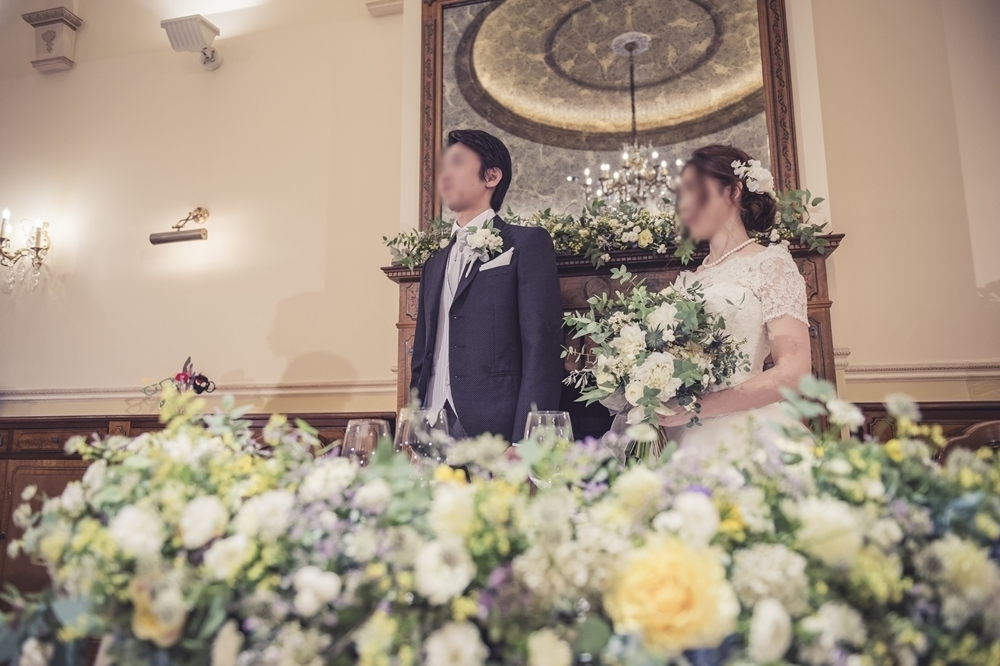 秋の装花 リストランテASOの花嫁様より、かすみそうのアーチの前のプロポーズ_a0042928_21045956.jpg