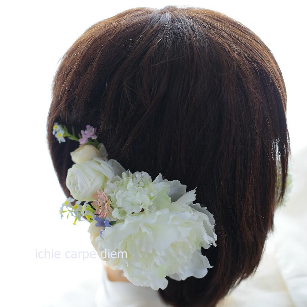 自分でつけられる花多めの髪飾り カチューシャ仕立て 軽井沢石の教会の花嫁様へ 付け方説明_a0042928_20534051.jpg