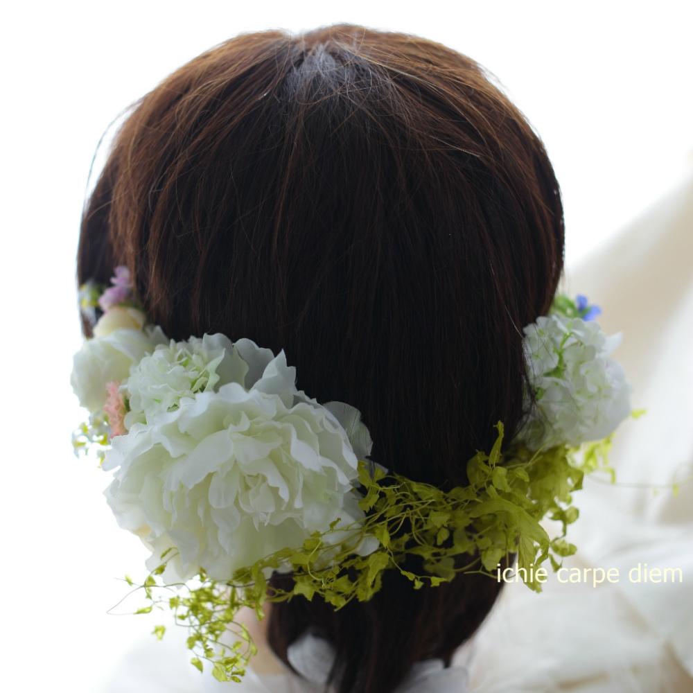 自分でつけられる花多めの髪飾り カチューシャ仕立て 軽井沢石の教会の花嫁様へ 付け方説明_a0042928_20534121.jpg
