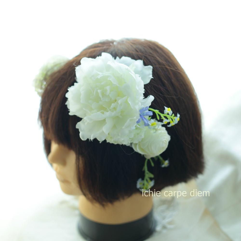 自分でつけられる花多めの髪飾り カチューシャ仕立て 軽井沢石の教会の花嫁様へ 付け方説明_a0042928_20534208.jpg