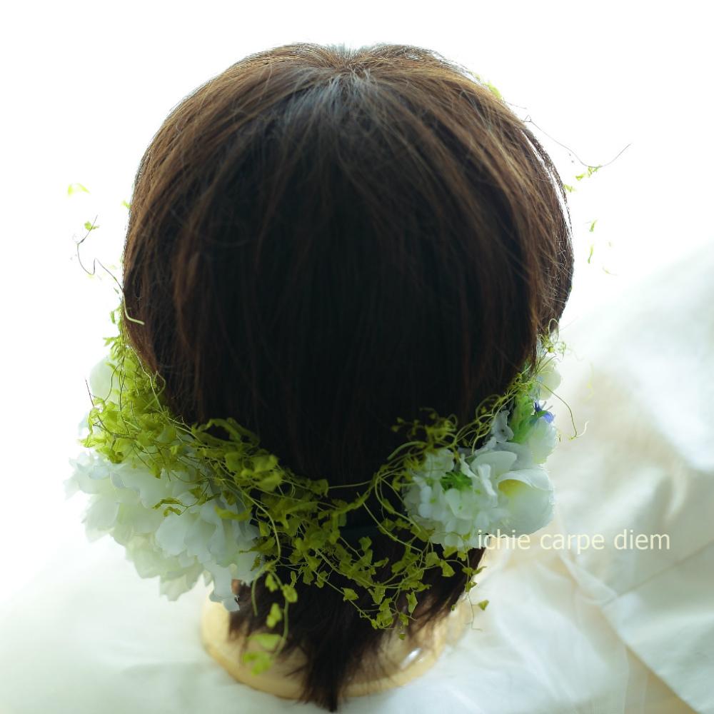 自分でつけられる花多めの髪飾り カチューシャ仕立て 軽井沢石の教会の花嫁様へ 付け方説明_a0042928_20540172.jpg
