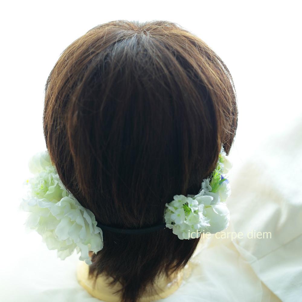 自分でつけられる花多めの髪飾り カチューシャ仕立て 軽井沢石の教会の花嫁様へ 付け方説明_a0042928_20540189.jpg