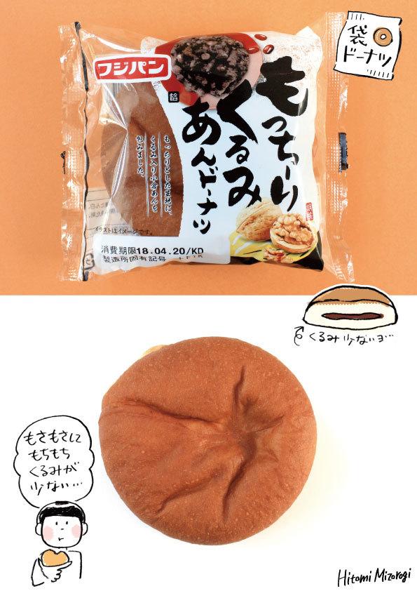 【袋ドーナツ】フジパン「もっちーりくるみあんドーナツ」【クルミをもっと入れてほしい…】_d0272182_13135105.jpg