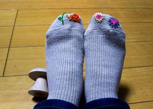 靴下の穴ふさぎ「亀さんとお花」_f0157414_21401591.jpg