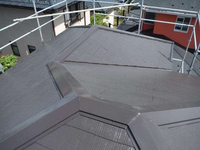 屋根・外壁の塗り替え ~ 壁の上塗り、雨樋取替_d0165368_05074936.jpg