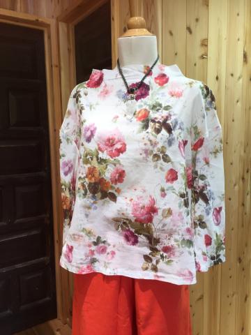 インド・ブロックプリントのシャツブラウス、ショート丈のコットンブラウス_d0187468_13230370.jpg