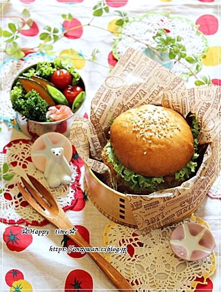 手作りバンズで海老カツバーガー弁当と豚の生姜焼き♪_f0348032_18195051.jpg