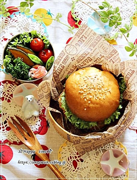 手作りバンズで海老カツバーガー弁当と豚の生姜焼き♪_f0348032_18195851.jpg