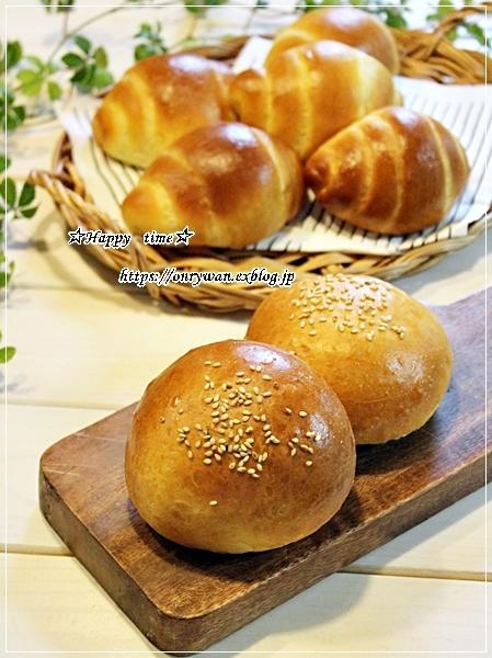 手作りバンズで海老カツバーガー弁当と豚の生姜焼き♪_f0348032_18200732.jpg