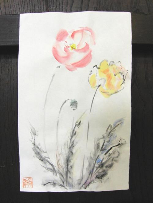 日本画 ~ ポピー ~_e0222340_15215740.jpg