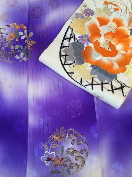 26日(土)より!目黒不動前「空フル〜カラフル〜vol.11」紫暈し撫子刺繍着物×花籠刺繍丸帯♪販売商品15_c0321302_09512661.jpg