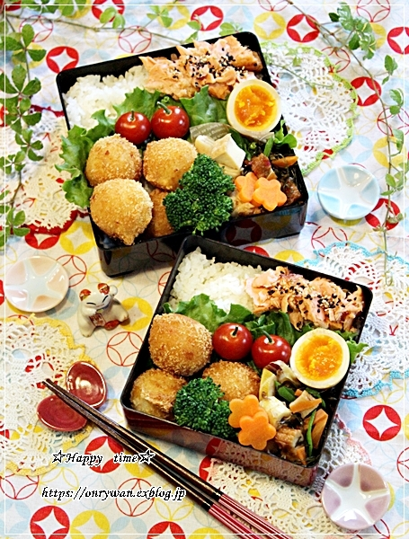 鮭ほぐしでおばんざい弁当とバゲット修行♪_f0348032_17582592.jpg