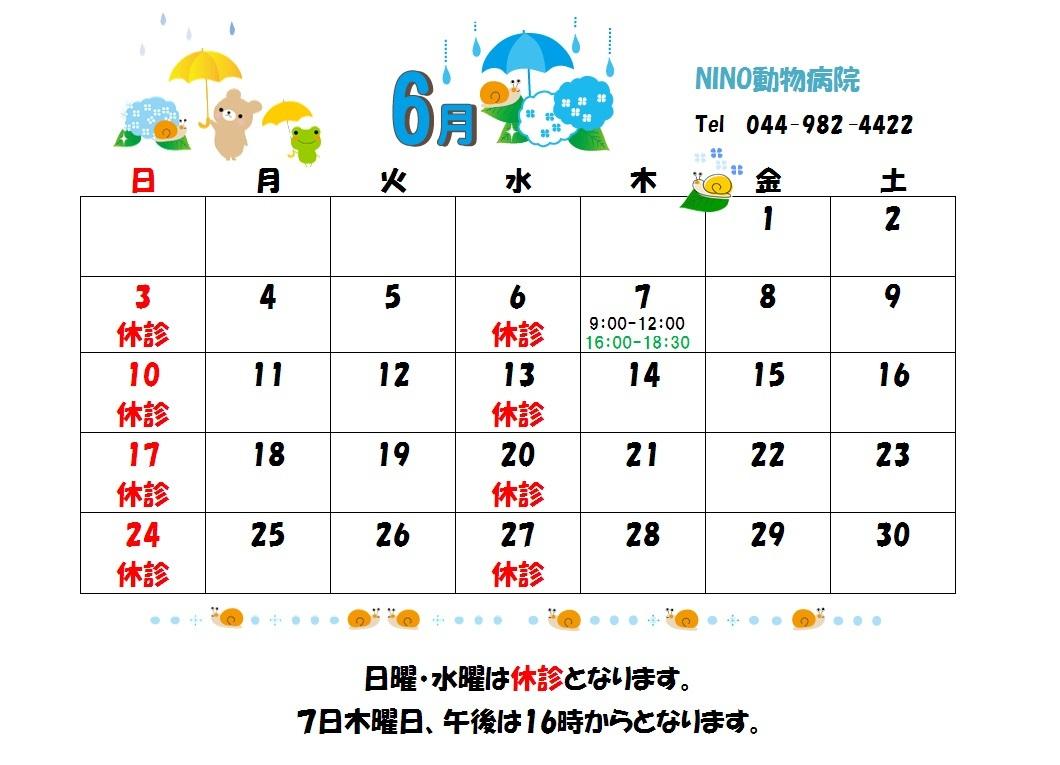 6月の診療日のお知らせ☆_e0288670_16281266.jpg