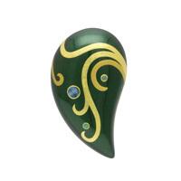 坂本これくしょんの艶やかで美しくとても軽い「和木に漆塗りのアクセサリー」より、存在感とボリュームのあるフォルムに、二色の金の曲線に螺鈿のアクセントが上品な蒔絵ブローチ