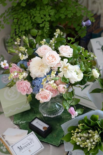 5月のレッスン スズランと市川バラ園のバラを使って_f0127281_17260462.jpg