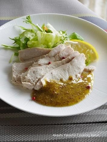 サラダチキン / 茹で鶏のマスタードドレッシング_f0361692_15174583.jpg