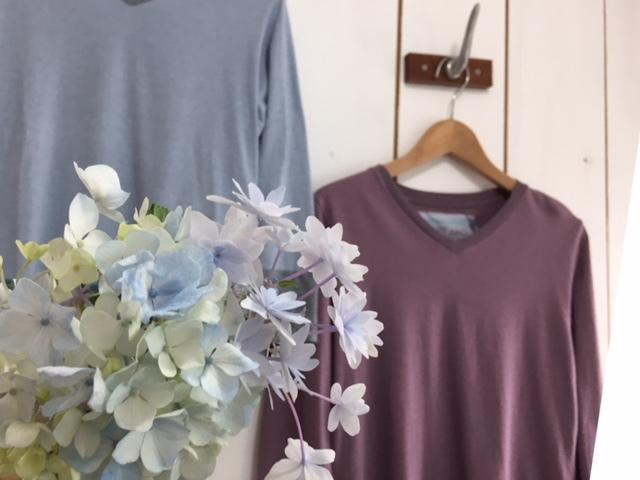 FabGarden 紫陽花染七分袖Tシャツ♪あじさいパープル再入荷しています!_d0108933_12385019.jpg