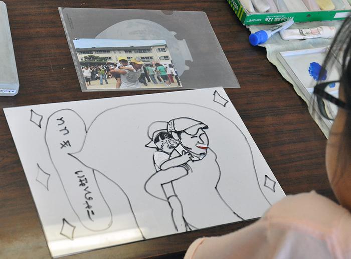 児童画クラス お父さんのガラス絵_b0212226_18482146.jpg