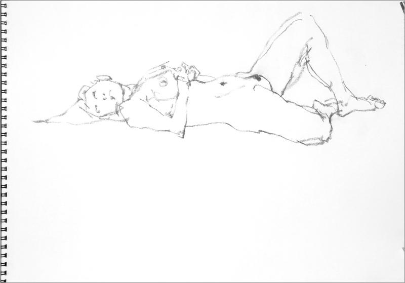 《 Croquis Archives 140406 (裸婦線描木炭)》_f0159856_20420399.jpg