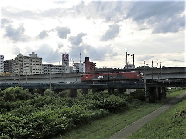 藤田八束の鉄道写真@貨物列車の写真、宮城県仙台市広瀬川と貨物列車「金太郎」、杜の都を走る貨物列車_d0181492_16574277.jpg
