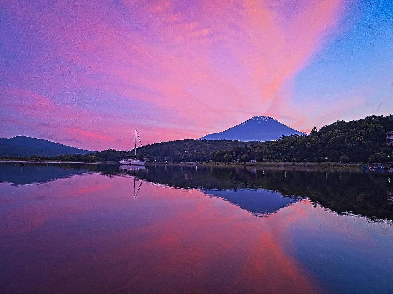 2018.6.24夕焼雲・富士山・ヨットのリフレクション(平野浜)_e0321032_15264699.jpg