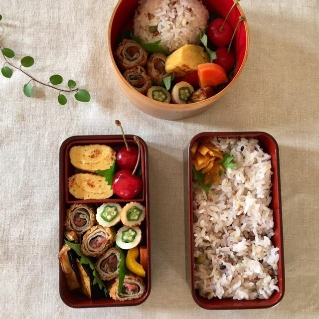 lunch box ×2 山形産 さくらんぼを頂いて♪_a0165160_17294236.jpg