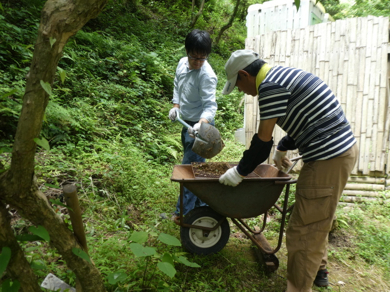 杉丸太の皮剥き・・・孝子の森_c0108460_20011202.jpg
