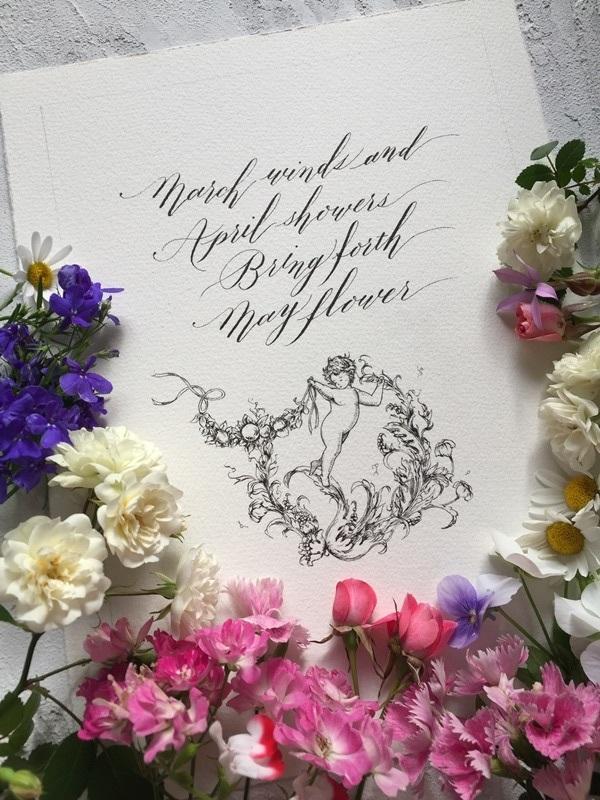 モダンカリグラフィー バイブラント体とお花と天使の線画_b0165872_08405576.jpg