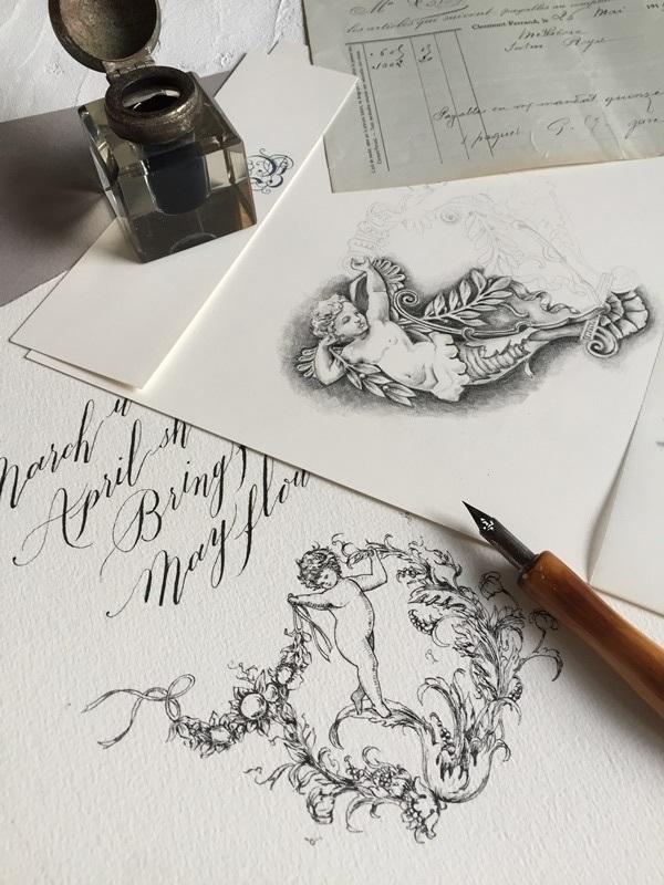 モダンカリグラフィー バイブラント体とお花と天使の線画_b0165872_08420181.jpg